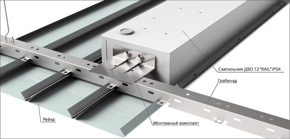 """Схема монтажа светильника ДВО 12 """"RAIL"""" IP54 в реечный потолок"""