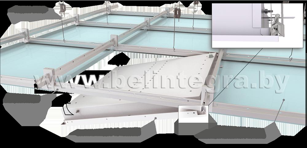 Схема монтажа светильника ДВО 12 «Cassete» в кассетный потолок