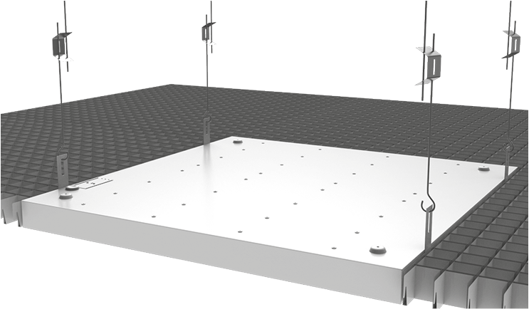 """Схема монтажа светильника в потолок типа """"Грильято"""""""