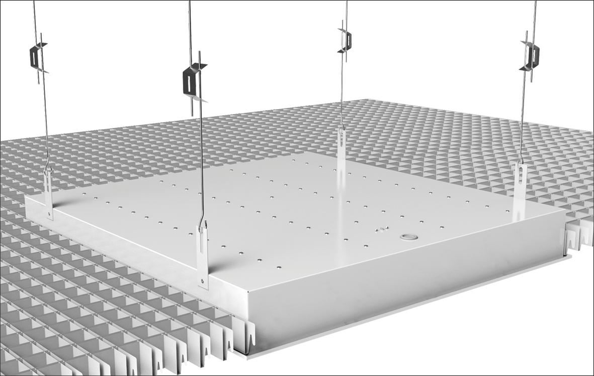 Схема монтажа светильника ДВО 21 «GEMINI GRILIATO»  в потолок типа «Грильято»